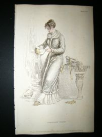 Ackermann 1811 Hand Col Regency Fashion Print. Carriage Dress 6-29